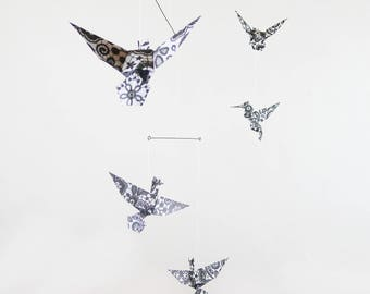 Mobile origami 5 birds black and white lace patterns for home decor