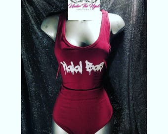 Burgandy and white Halal Bae bodysuit