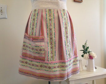 Half Apron Pleated Pink Apron Pocketed Apron