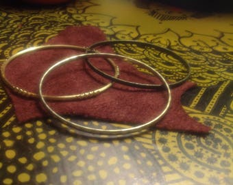 Stack 2:  Set of 3 Mixed Metal Bangle Bracelets