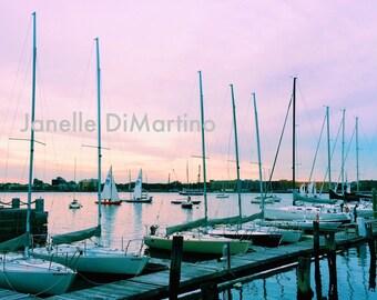 Sunset in the city - Harborwalk | Boston, MA - FREE SHIPPING!