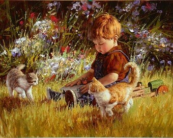 ORIGINAL design, durable and WASHABLE PLACEMAT - baby boy sitting in grass and small cats - classic.