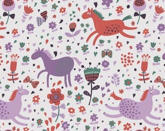 ORIGINAL design, durable and WASHABLE PLACEMAT - child drawing. Horses in a field of violets - classic.