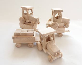 New Handcrafted Natural Ecological Organic One Wooden Tractor With Blocks - Toys Girls Boys - Can be painted / Size Approx 14 in or 35 cm