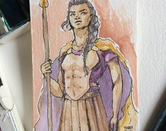 Reyna Arellano Watercolour Sketch Card, Percy Jackson, Camp Half Blood, SPQR