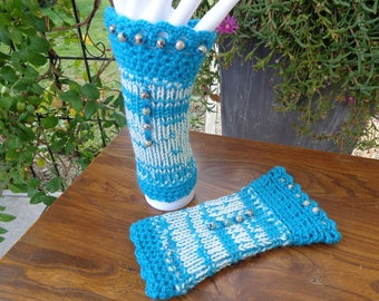 MITTENS wool cream and turquoise