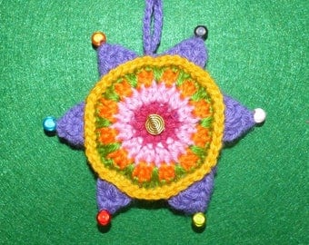 colorful star 6 branches with beads, crochet