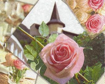Festive table napkin Rose church wedding
