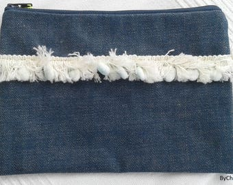 Small pouch, denim, fringe and tassel trim