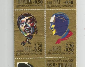 Bookmarks made with a series of french postage stamps from 1990