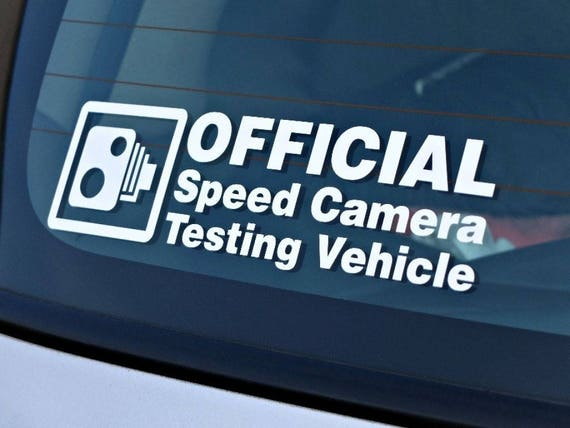 Official Speed Camera Testing Vehicle - JDM Die Cut Vinyl Sticker   For Cars or Motorcycles   Racing Decal Sticker   Funny decal