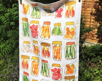 Pickled vegetables in Mason Jars Tea Towel - Canning - Kitchen Gift - Cooking gift - Condiments - Vegetarian - Ohn Mar Win - 100% Cotton -