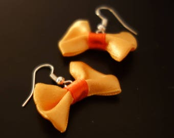 Earrings in shades of Orange satin ribbon bow