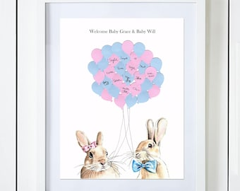 Twins Bunny Baby Shower Guest Book Alternative Baby Girl and Baby Boy