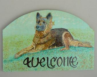 Acrylic painting on wood: German Shepherd Dog
