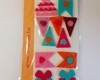 Set of 11 vintage tag card - gift, cake, flags - scrapbooking