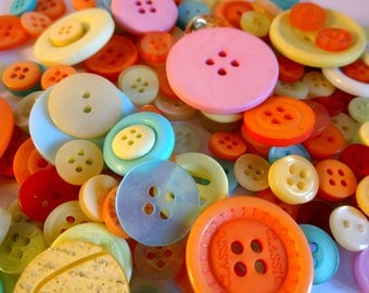 Assorted 160 colorful buttons - sewing - embellishment - scrapbooking