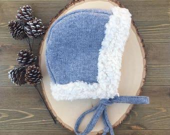 Navy Blue White Brushed Herringbone Bonnet | Baby Bonnet | Bonnet | Baby Hat | Brimless Bonnet | Winter Hat | Bonnet Baby Girl | Bonnet Baby