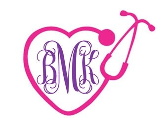 Vinyl Nurse Decal Initial or Frist Name