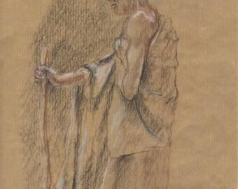 Man hermit drawing original 29.5x20 blood cm charcoal and chalk on kraft paper