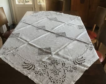 Tablecloth: Rare antique handmade linen tafelkeed with embroidery anglaise and lace bobbin with small monogram CS or GS. Vintage Tablecloth A