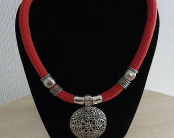 Red ethnic necklace large pendant
