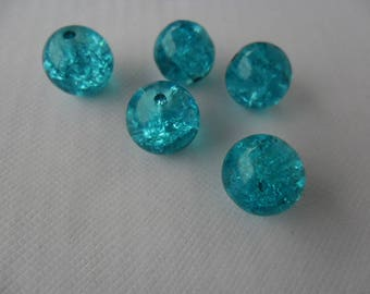 Set of 5 turquoise blue Crackle Glass, 10 mm beads