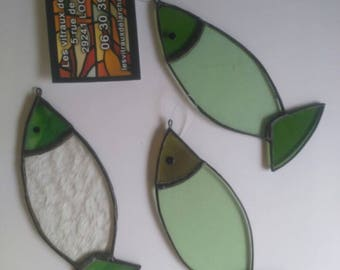 Set of 3 fish stained glass