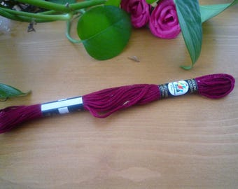 Cotton embroidery yarn skein bordeaux