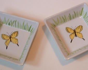 Pair of ramekins porcelain Butterfly motif