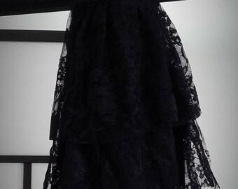 Black gothic lace jabot