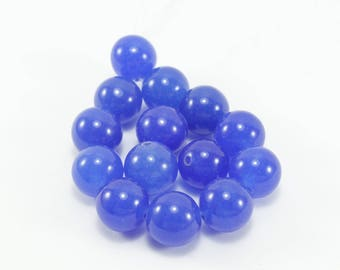 10 beads of Jade colored blue 10 mm