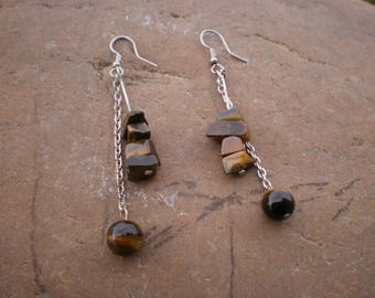 Beads and Tiger eye chips earrings