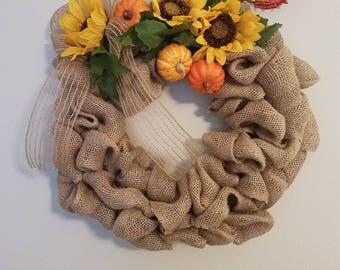 Handmade Fall Wreath with Sunflowers