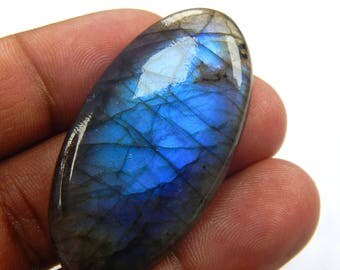 On Shop  Sale 69.75 ct Natural Labradorite loose gemstone Oval shape 24x46 mm Blue Fire Labradorite on wholesale price