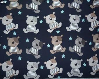 Fabric C783 bears on a Navy blue background coupon 35x50cm