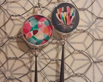 Dangling earrings, multicolor flower pattern