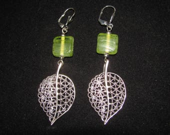 Leaf and green square earrings