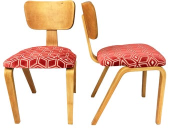 Joe Atkinson Maple Bent Plywood Chairs For Thonet   A Pair