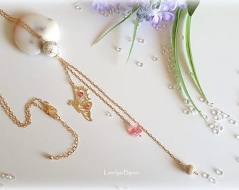 """Long Gold filled """"Butterfly Rose Peach"""", Swarovski Elements"""