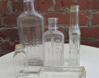 Antique Apothecary Bottles lot clear