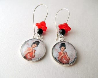 """Girl red dress"" Cabochon earrings Butterfly"