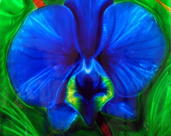 Painting fine art metal Blue Lily