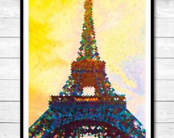 Eiffel Tower pixel art style