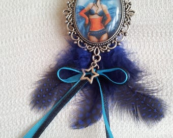 Blue feather brooch