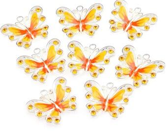 21.5x21 mm yellow enamel silver Butterfly charm