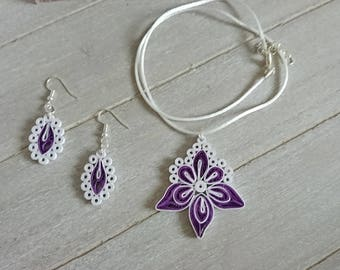 "Jewelry set series ""Blossom"" in purple / white"