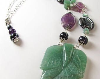 Aventurine Gemstone Leaf Necklace