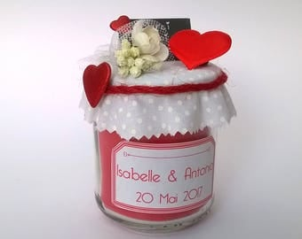 Customizable red heart theme wedding favor candle