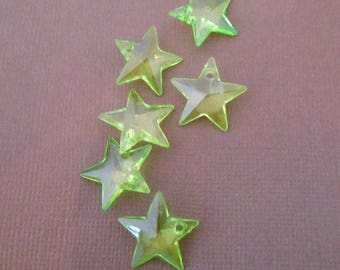 Set of 6 charms or pendants Star Green